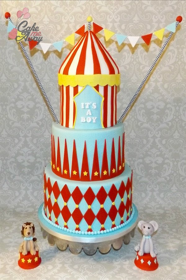 Circus Tent Flags Baby Shower Cake