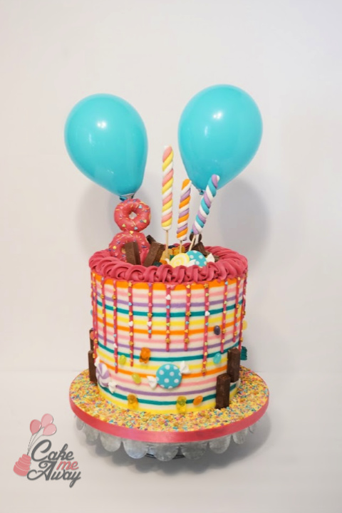 Colorful Candy and Sweets Birthday Cake