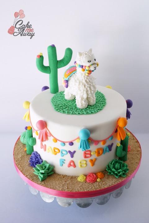 Colorful Llama Cactus Birthday Cake