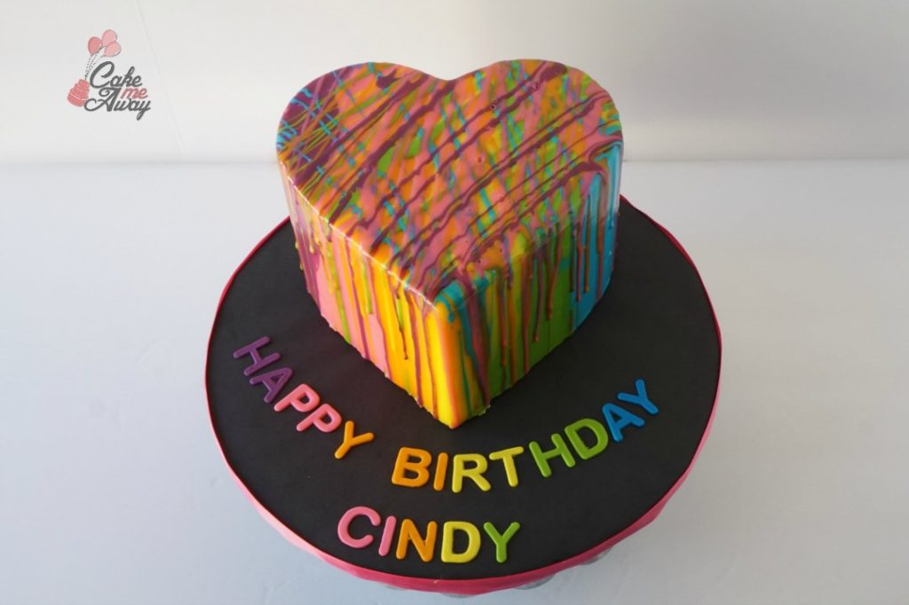 Colorful Purple Pink Yellow Green Blue Heart Mirror Glaze Birthday Cake