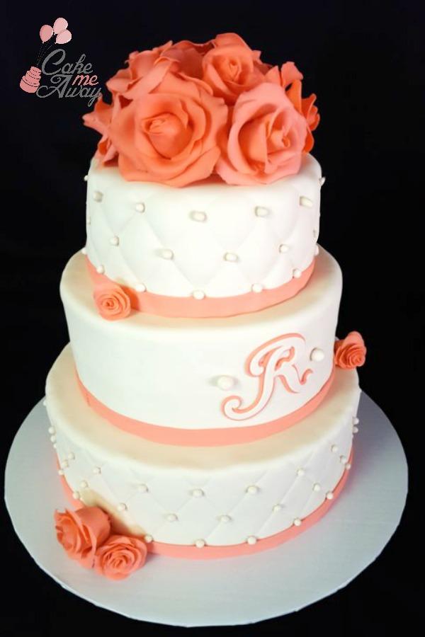 Coral Rose Ivory White Wedding Cake