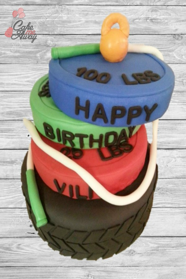 Crossfit Tire and Weights Cake
