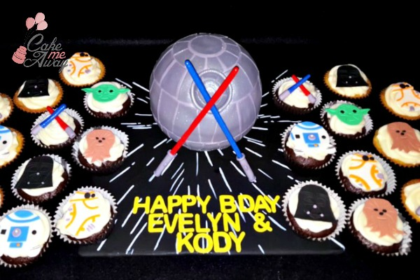Death Star Star Wars Cake and Cupcakes