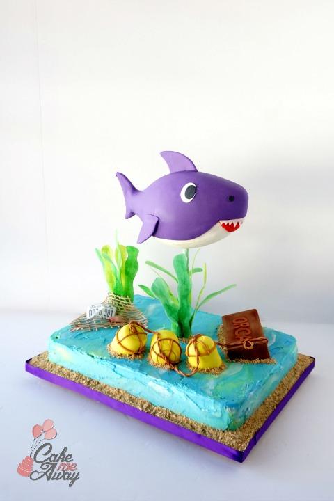 Front Baby Shark Purple Jaws Movie Birthday Cake