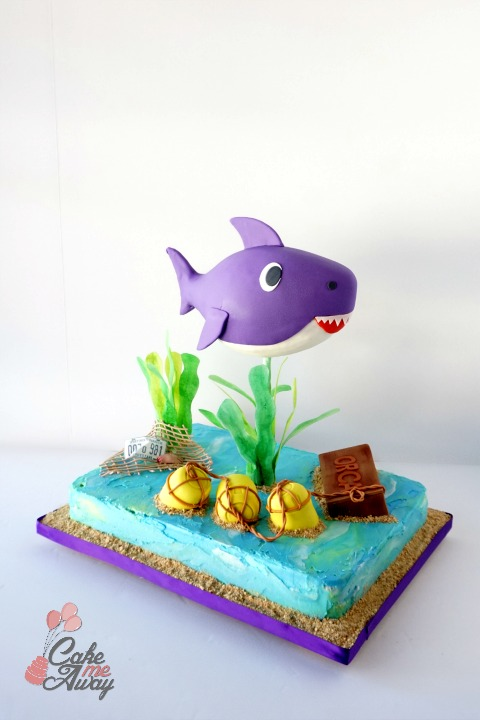 Front Baby Shark Purple Jaws Movie Birthday Cake