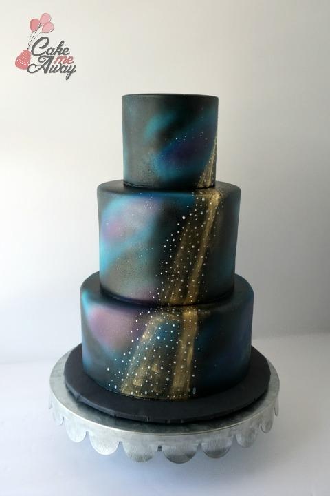 Galaxy Gold Shooting Star Wedding Cake