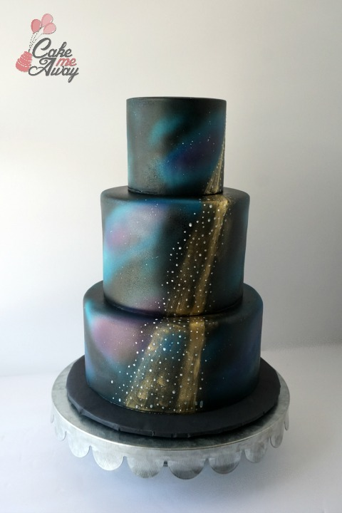 Galaxy Gold Shooting Star Wedding Cake