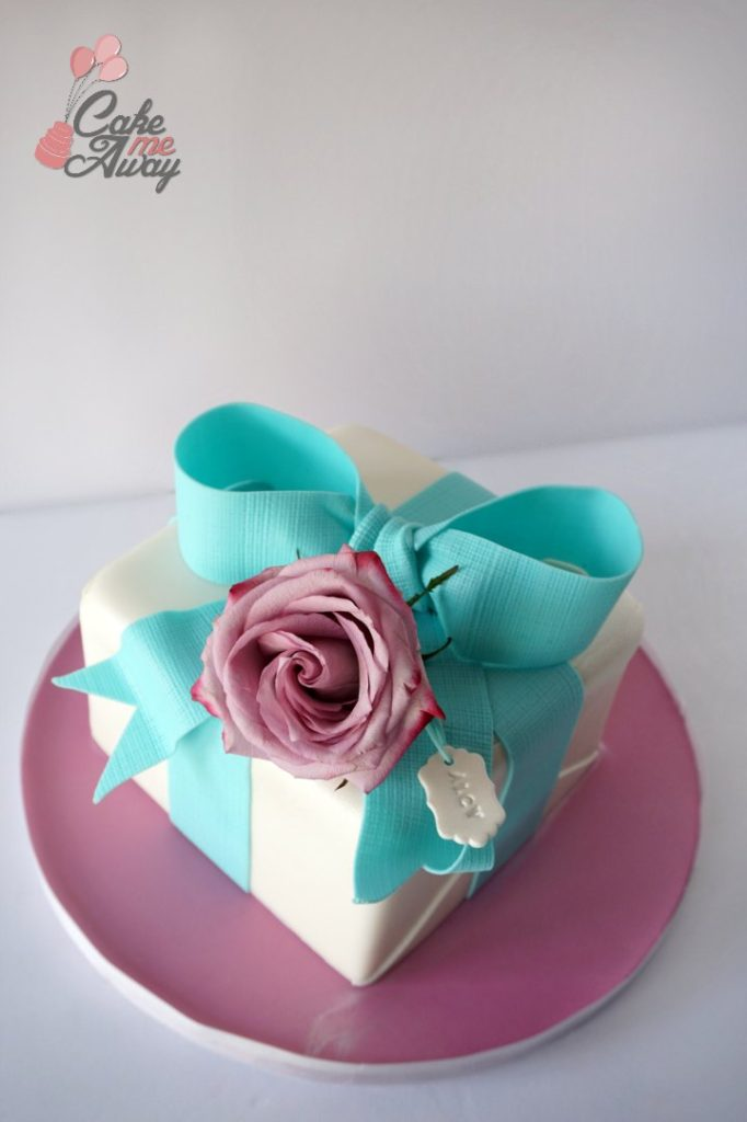 Gift Box Teal Bow Rose Present Birthday Cake