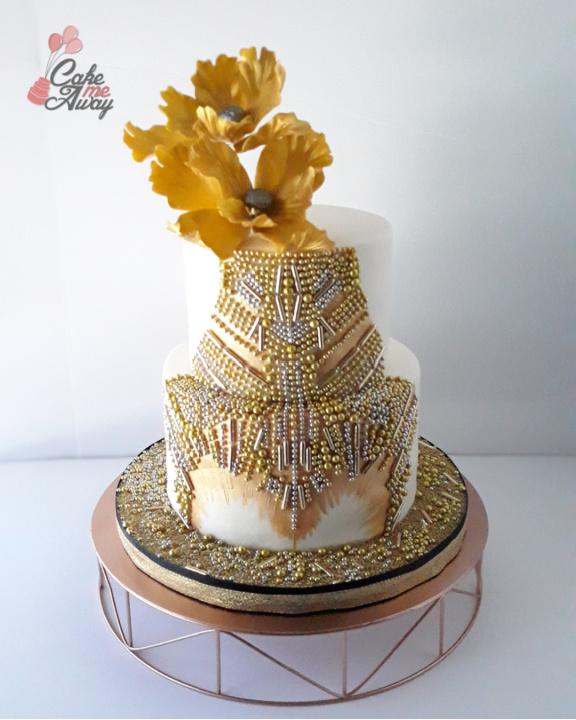 Golden Glam Birthday Cake