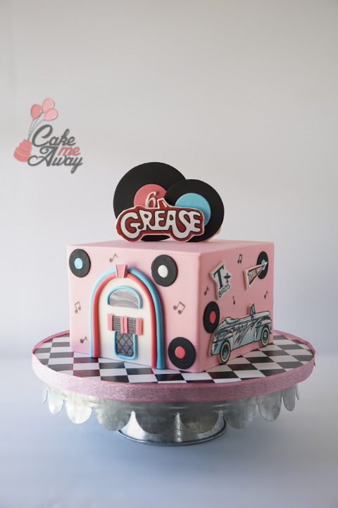 Grease Jukebox Thunderbird Birthday Cake