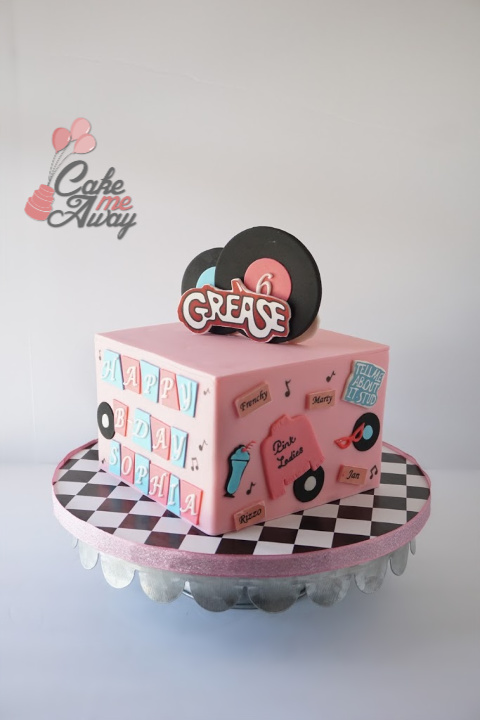 Grease Pink Ladies TBird Jukebox Birthday Cake