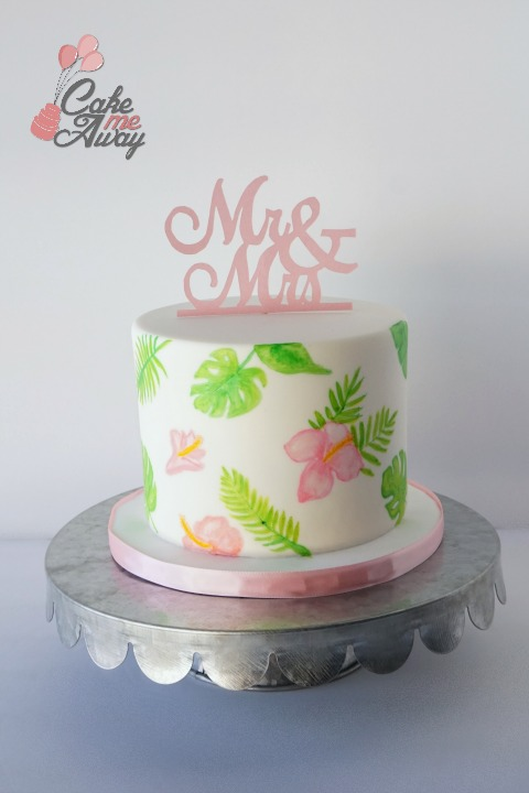 Hand Painted Monstera Leaves FLower Wedding Cake