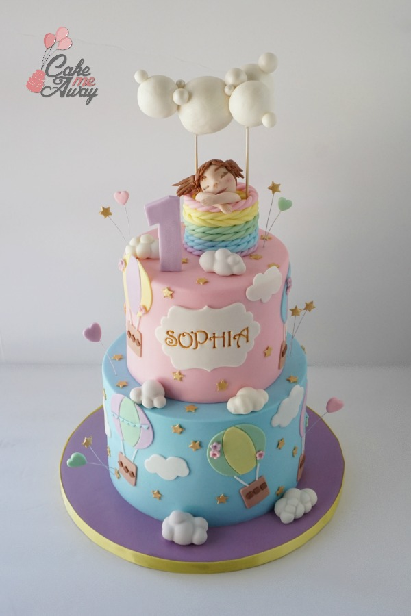 Hot Air Balloon Pastel Color First Birthday Cake