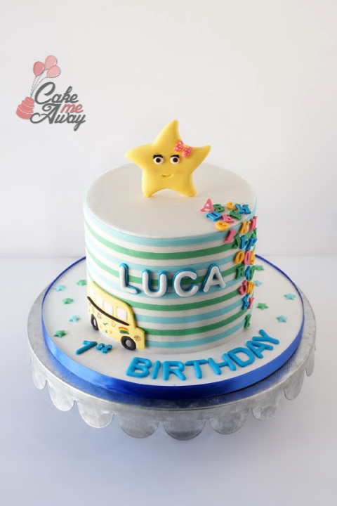 LBB Star Wheels On The Bus ABC Nursery First Birthday Cake