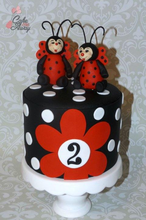 Ladybug Polka Dot Black White Red Cake