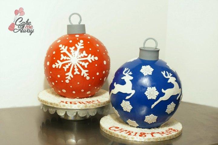 Large Christmas Tree Ornament Sphere Cake