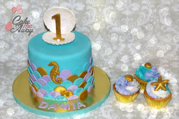 Mermaid Scales Seashell Birthday Cupcakes and Cake