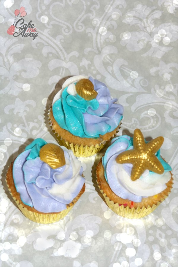 Mermaid Seashell Birthday Cupcakes