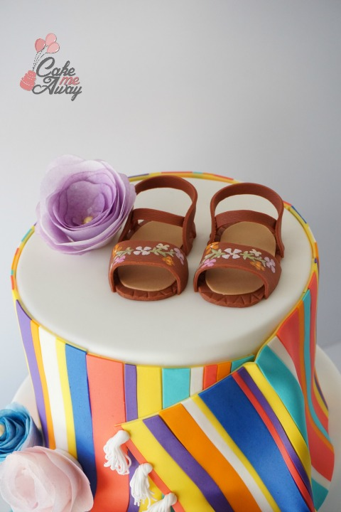Mexican Baby Shower Girl Sandals Wafer Paper Cake