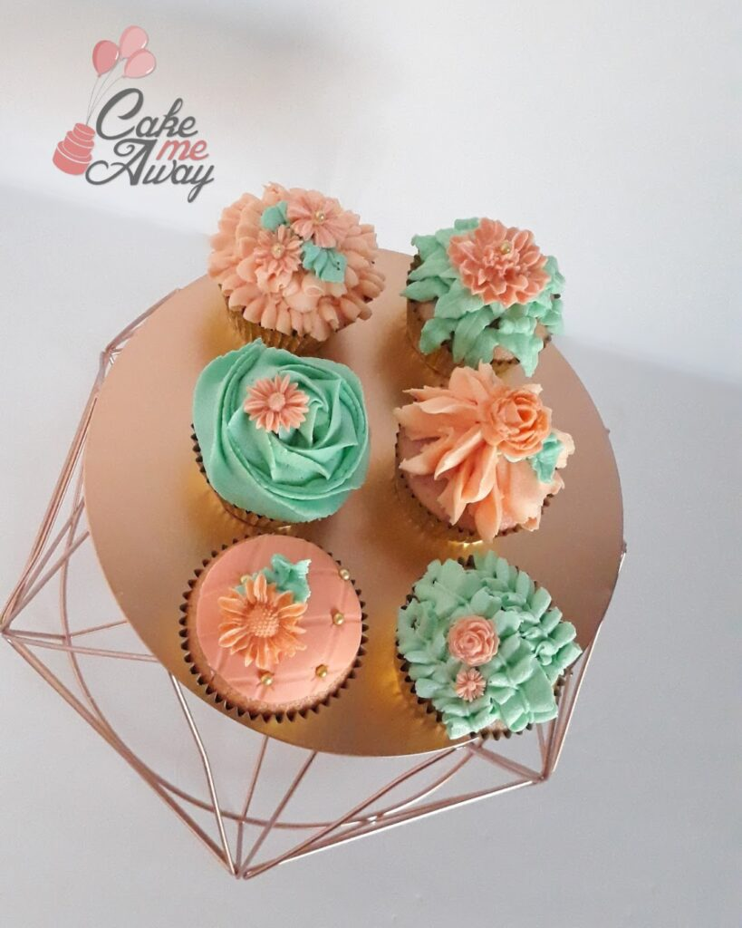 Mint Green Coral Flower Cupcakes