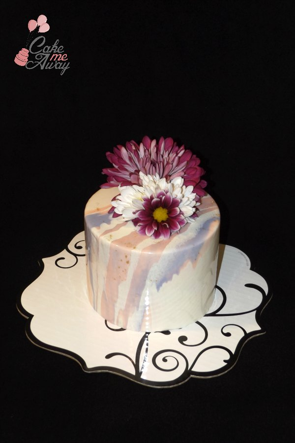 Mirror Glaze Purple Pink Gold Cake