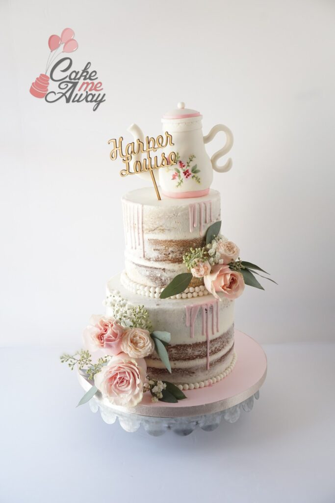 Naked Pink Drip Teapot Fresh Flowers Baby Shower Cake