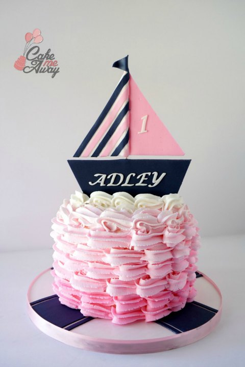 Nautical Navy Blue Pink Boat Waves Smash Cake