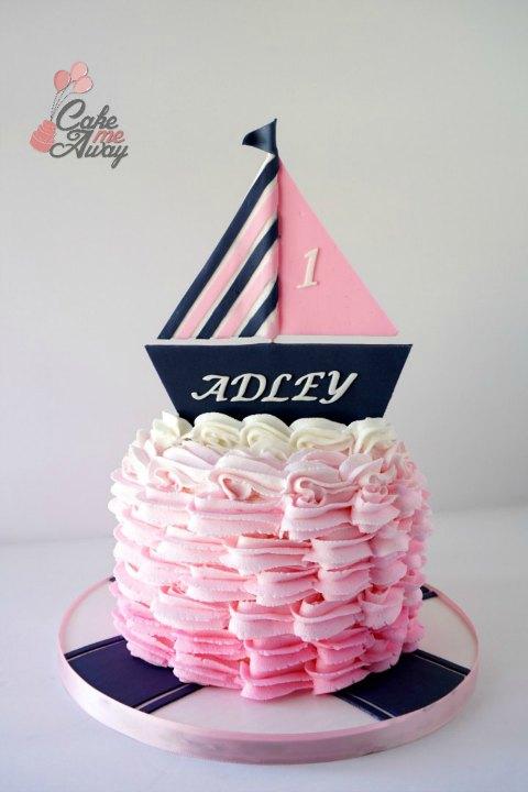 Nautical Navy Blue Pink Boat Waves Smash Cake