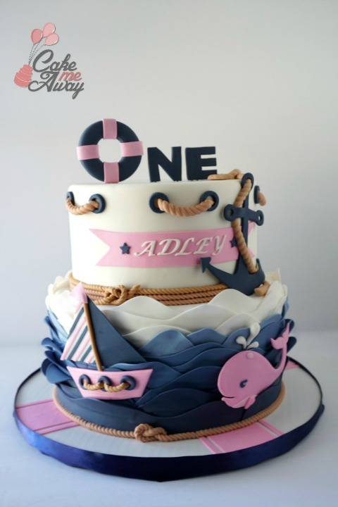 Nautical Navy Blue Pink Whale Boat Anchor One Birthday Cake