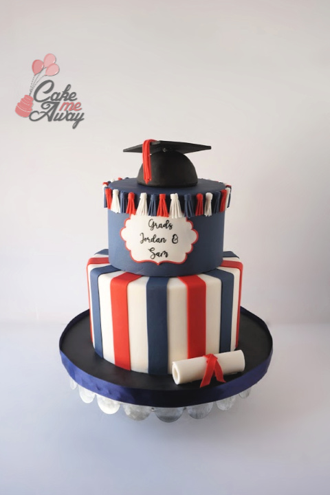 Navy Red White Graduation Cap Cake