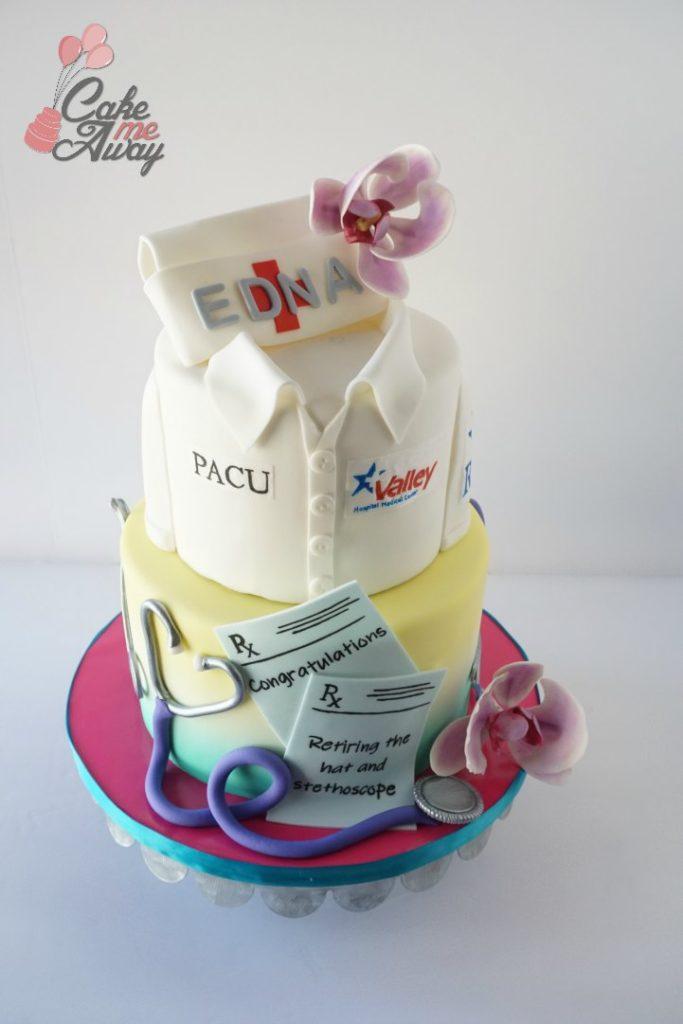 Nurse Tropical Orchid Retirement Cake