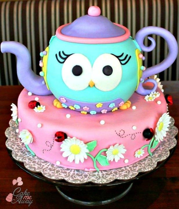 Owl Teapot Ladybug Birthday Cake