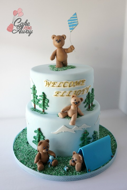 PNW Pacific North West Camping Bears Baby Shower Cake