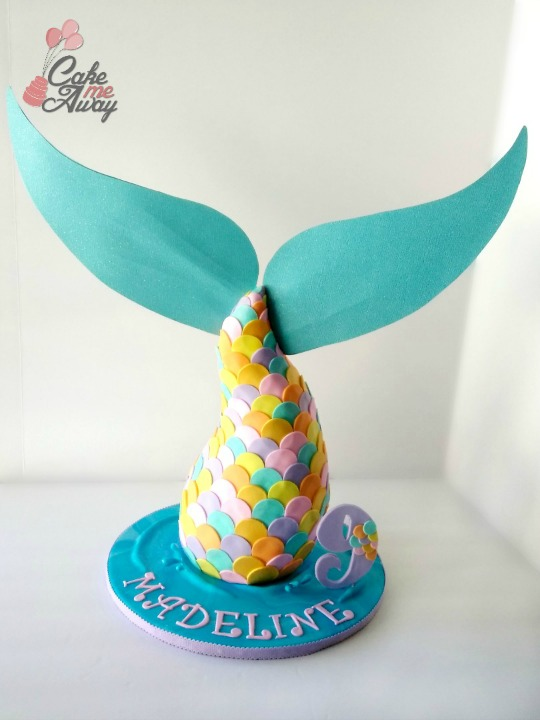 Pastel Colored Mermaid Tail Birthday Cake