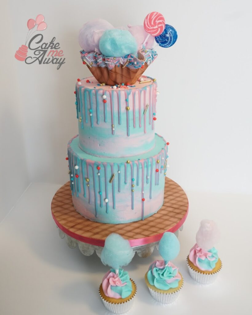 Pink Blue Cotton Candy Birthday Cake