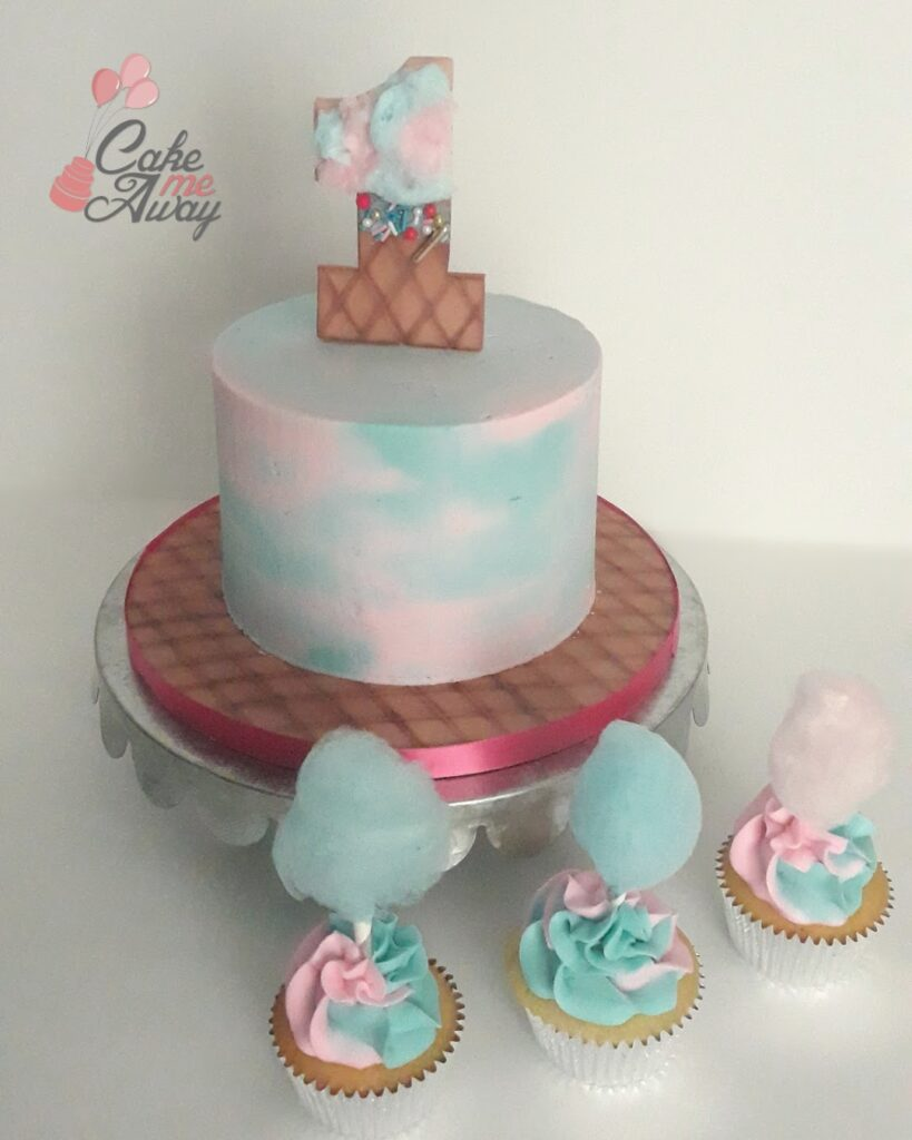 Pink Blue Cotton Candy Smash Cake