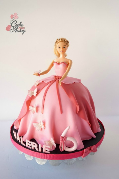 Pink Butterflies Doll Birthday Cake