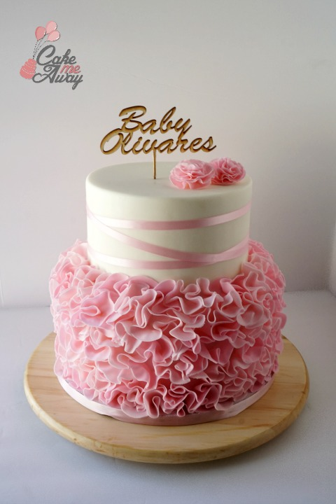 Pink Ruffles Satin Ribon Carnation Wood Topper Baby Shower Cake