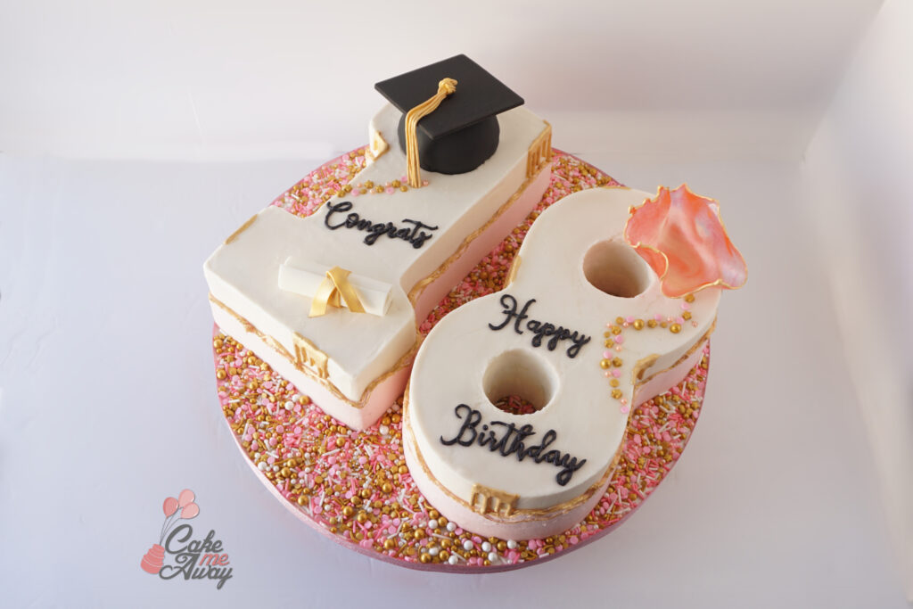 Pink White Gold Graduation Cap Cake