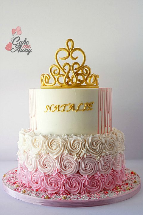 Pink White and Gold Rosettes Tiarra Baby Shower Cake