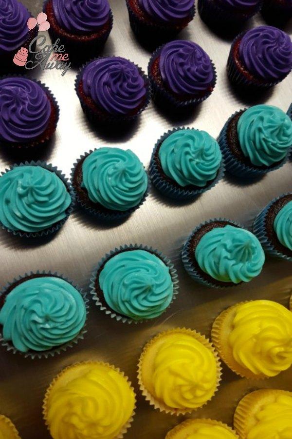 Purple Seafoam Green Yellow Mini Cupcakes