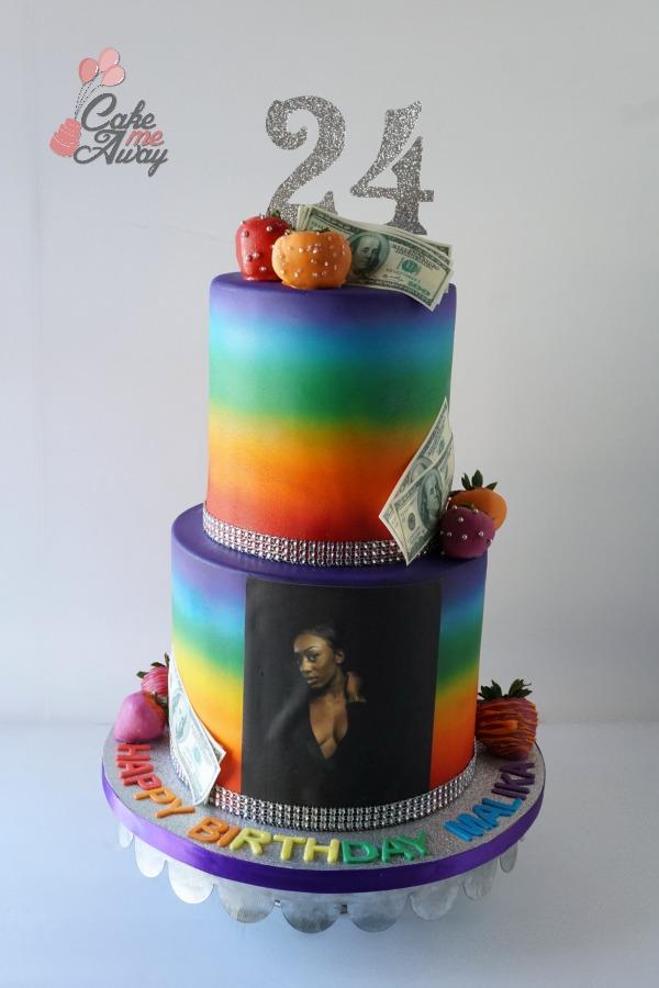 Rainbow Glitter Bling Airbrush Birthday Cake