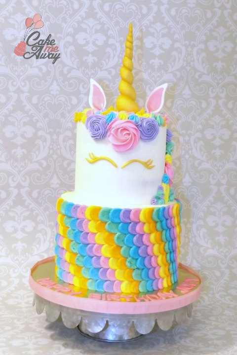 Rainbow Unicorn Gold Cake