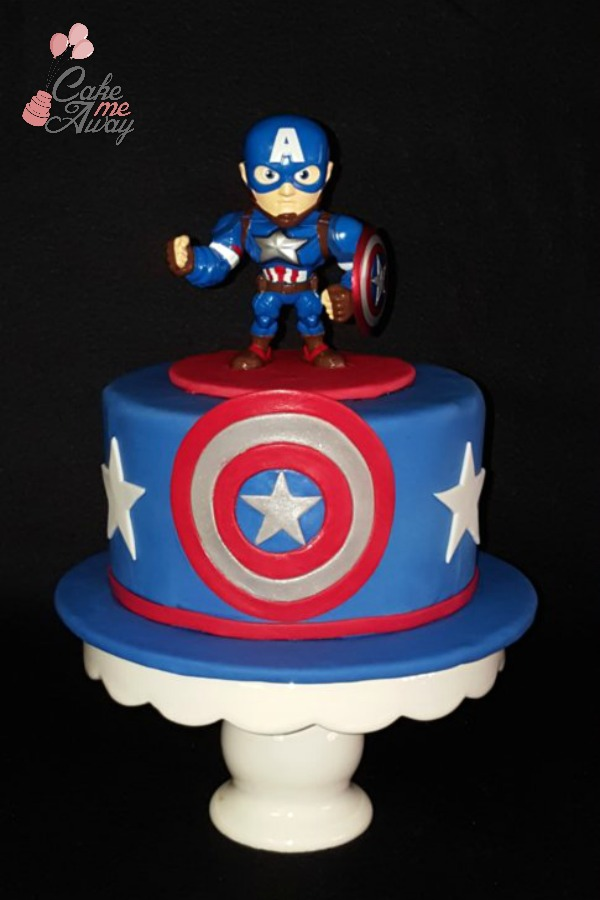 Red White and Blue Captain America Cake