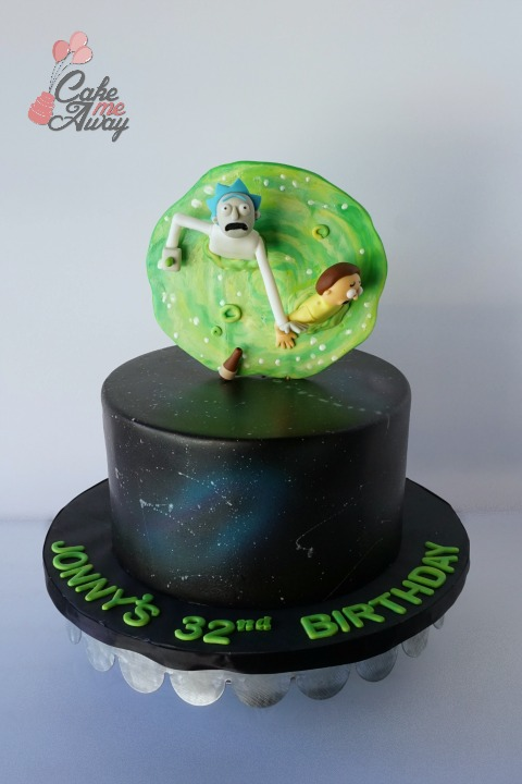 Rick and Morty Portal Galaxy Birthday Cake