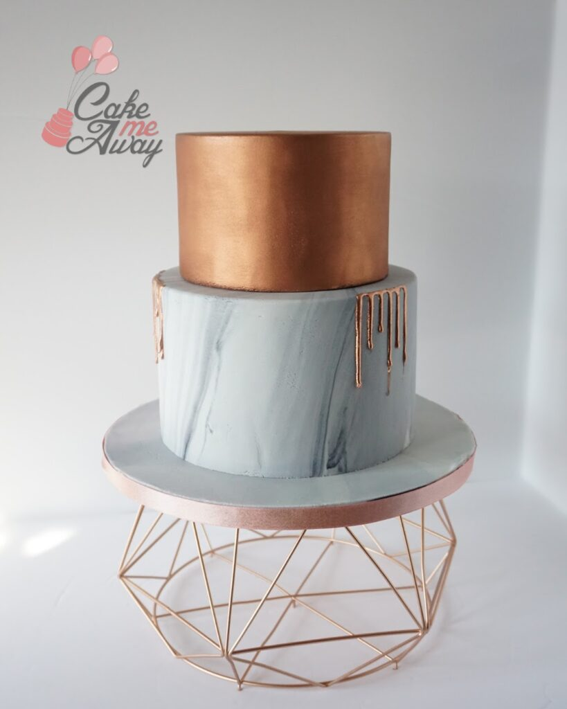 Rose Gold Marble Birthday Cake