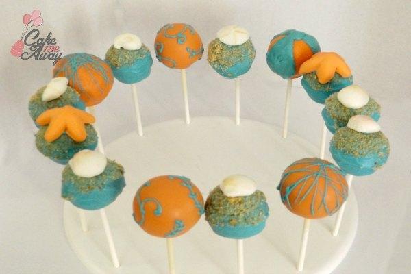 Sea Shell Beach Teal Orange Cake Pops