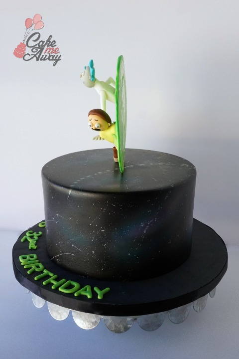 Side Rick and Morty Portal Galaxy Birthday Cake