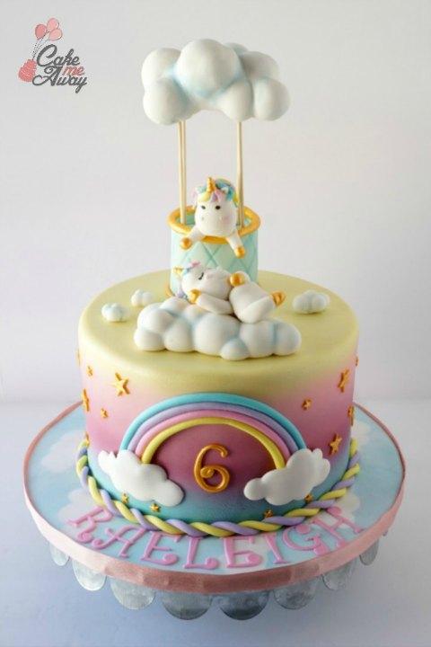 Sleeping Unicorn Hot Air Balloon Clouds Birthday Cake