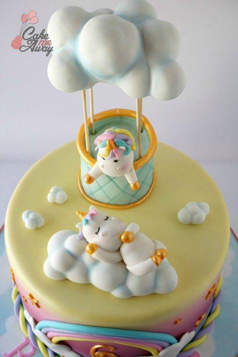 Sleeping Unicorn Hot Air Balloon Clouds Birthday Cake Topper